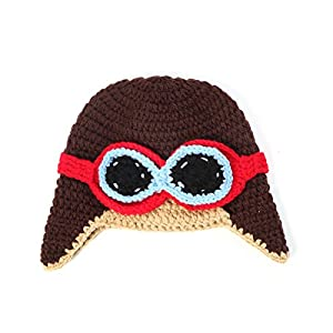 Youngate Astronaut Sunglasses Style Newborn Baby Toddler Knit Photo Shoot Hat Cap (0-3 Months-Hat Circumference:14.5-15.3inch/37-39cm, Coffee)
