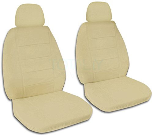 Solid Color Car Seat Covers w 2 Separate Headrest Covers: Sand - Semi-custom Fit - Front - Will Make Fit ANY Car/Truck/Van/SUV (22 Colors) (Custom Headrest)