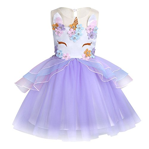 KABETY Baby Girl Unicorn Costume Pageant Flower Princess Party Dress with Headband (120cm, Purple (no Headband)) ()