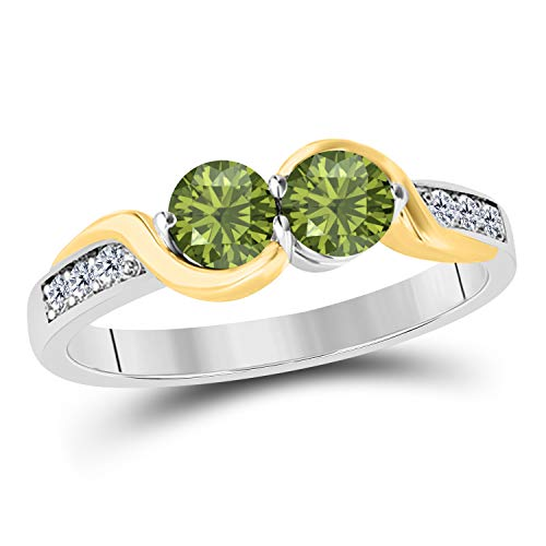1.50 Carat Forever Us Created Dark Green Peridot 14K Two Tone Gold Plated Prong Set Two Stone Engagement Ring Sterling Silver Base (Yellow) ()