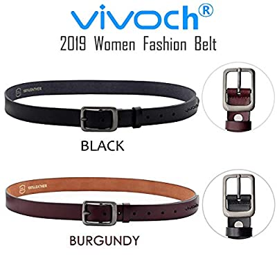 VIVOCH, Women Cowhide Leather Belt, Vintage Casual Belt for Women Jeans, Skirt, Pants, Dress with Alloy Pin Buckle