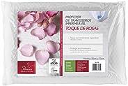 Capa de Travesseiro Impermeável Toque de Rosas com Zíper Fibrasca Branco 50x70cm