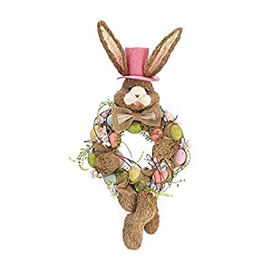 "Burton & Burton 24"" Bunny Wreath with Eggs and Top Hat 45"