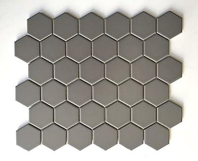 "Steel Gray 2"" Hexagon Porcelain Mosaic Floor and Wall Backsplash Kitchen Bath"