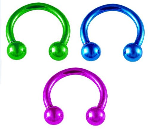 Set of 3 Rings: Blue Hypoallergenic 316L Stainless Steel Surgical Steel Ring lip belly 14 gauge tragus 12 MM Round Circular Horseshoe Barbells Hoop Rings cartilage earring body Jewelry piercing nipple Green /& Purple pink Anodized 14G