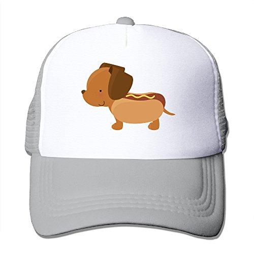 Lihed Hot Dog Dog Funny Cute Trucker Hat Travel Mesh Back Cap Hat Ash