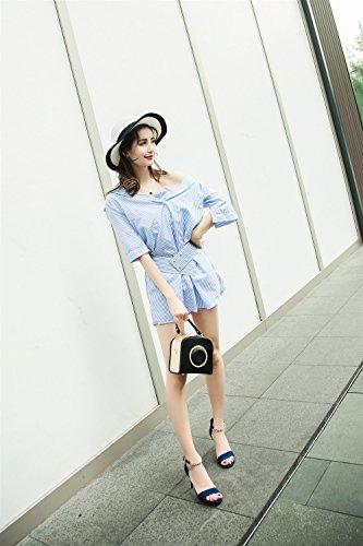 Versión Redondas Abiertos Coreana Femeninas Azul Palabra Finas Rhinestone Atractivas De Con Zapatos Xiaoqi Del Los Verano La Sandalias Alto Tacón Las OAqOw