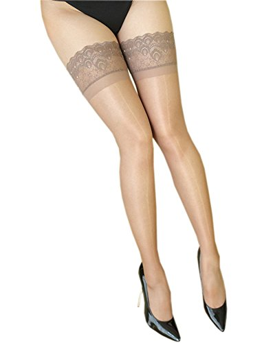 Kffyeye Lace Thigh High Sheer Hold Up Pantyhose Stockings, Ultra Shimmery Plus Footed Deep Wide Silicone Top 15 Den Tights 0907 (Beige) (Pantyhose High)