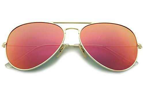 YuFalling Polarized Aviator Sunglasses for Men and Women (gold frame/purple orange-red lens, - Aviators Mirrored Red