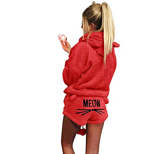 - costumer first Women's Fleece Hoodie Pajamas Suit Meow Embroidered Shorts and Long Sleeve Hooded Sleepwear Set