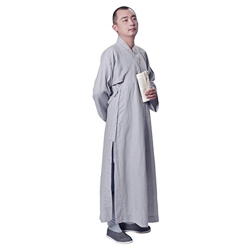ZooBoo Buddhist Shaolin Temple Monk Robe Cotton Linen Long Robes Gown Kung Fu Uniforms Martial Arts Clothings for Men Women (Light Gray, 38)