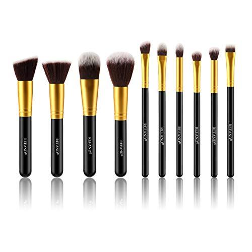 Refand Makeup Brushes Premium Makeup Brush Set Professional Makeup Kit Gold Black 10 pcs
