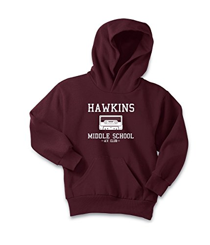 35W Stranger Things Hawkins Middle School AV Hoodie Hooded and Crew Sweatshirt Youth and Adult (Unisex Small, Hawkins AV Maroon Hoodie)