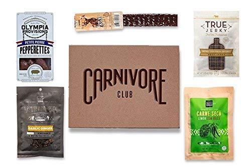 (Carnivore Club Gift Box - Jerky & Meat Sticks Sampler - 4 to 6 Meat Snacks - Great Gift For Men & Women - Comes in Carnivore Club Themed Gift Box - Birthday)