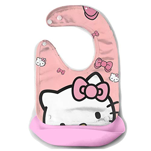 Baby Bib Cute Hello Kitty Waterproof Feeding Bibs for Babies and Toddlers with Comfort-Fit Fabric Neck Pink ()
