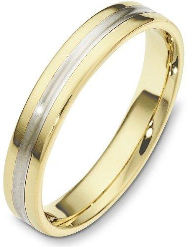 - Traditional Style 4mm 18 Karat Yellow Gold & Titanium Wedding Band Ring - 7.5