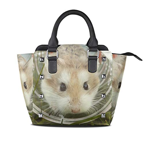 Animal Hamster In Glass Cup Genuine Leather Handbags Purses Shoulder Tote Satchel Bags Womens