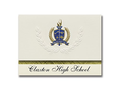 Signature Announcements Claxton High School (Claxton, GA) Graduation Announcements, Presidential style, Elite package of 25 with Gold & Blue Metallic Foil seal