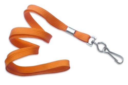 "Orange 3/8"" Wide 36"" Flat Braid Non-Breakaway Lanyard, Swivel Hook (100/bag)"
