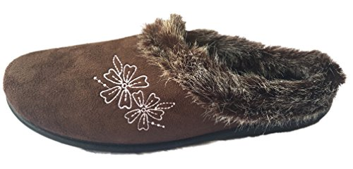 Ladies Coolers Mule Slippers Outdoor Sole Brown Flower C7gSBLL2