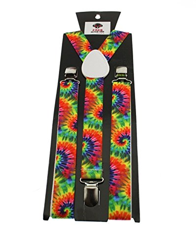 Zac's Alter Ego Men's Rainbow Spiral Tie Dye Braces/Suspenders 25Mm Width & Adjustable Length Multicolour -