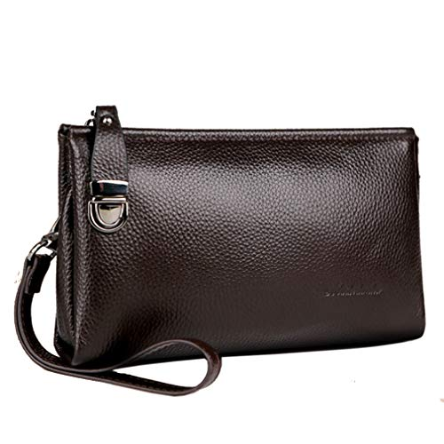 - Hebetag Leather Long Clutch Handbag Purse Wallet for Men Wristlet Phone Holder Organizer Wrist Bag Business Handbags Brown