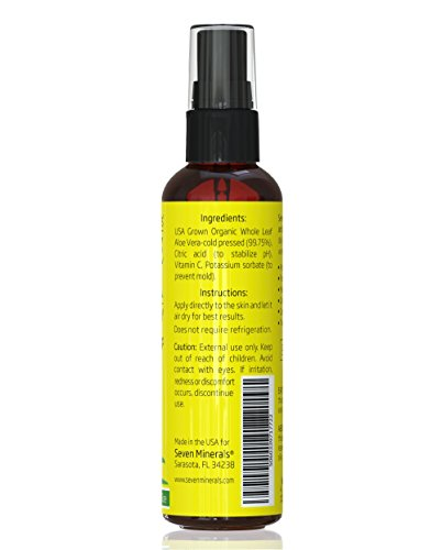 Travel Size Aloe Vera Spray for Face, Skin & Hair - 99% ORGANIC, Made in USA - EXTRA Strong - SEE RESULTS OR - Easy to Apply - No THICKENERS so it Absorbs Rapidly with No Sticky Residue. by Seven Minerals (Image #2)