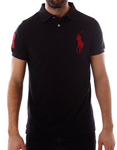 Polo Ralph Lauren Big Pony Custom Fit Mesh Polo Shirt (X-Large, Black)