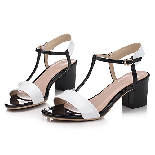 Farbe VogueZone009 Heels Schnürsenkel High Sortierte PU Sandalen der Frauen Weiß 776nwqr5g