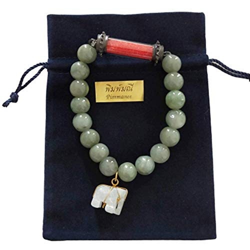 Heavens Tvcz Natural Green Jade Real Bracelets with Pendant Rare Holy Sarira Phra Tath Red Sakyamuni Buddha Relics Powerful Thai Amulet Elephant Prosperity Luck Success Wealth Promote Love