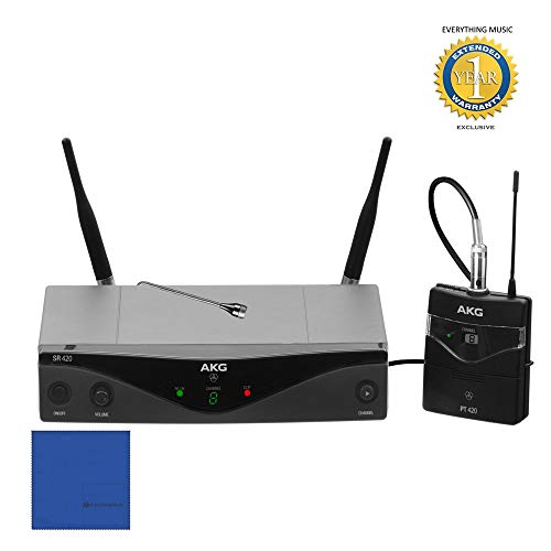 AKG Pro Audio WMS420 Presenter Set Band A Wireless Microphone System with Microfiber and 1 Year Everything Music Extended Warranty