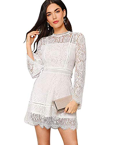 LMilumia Women's Elegant Long Sleeve High Waist Floral Lace Overlay A-Line Short Dress White L