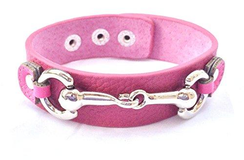 Wardani, Silver Horse bit genuine leather Bracelet adjustable Handmade - Br Tory