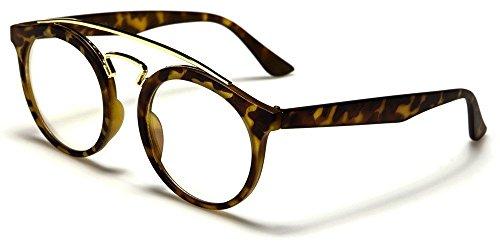 5020c6463b Tortoise Gold Angled Bridge Plastic Round Frame Clear Lens Womens Funky  Nerd Glasses
