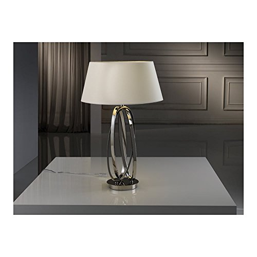 Schuller Spain 316451/7379I4L Traditional Nickel Tamp Lamp 1 Light Living Room, bed room, Study, Bedroom LED, White shade Chrome Table Lamp | ideas4lighting by Schuller