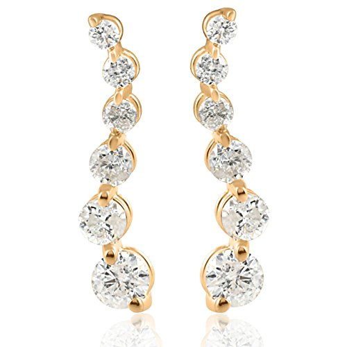 Ladies 1/2ct Diamond Journey Earrings 14K Yellow Gold