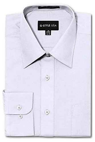G-Style USA Men's Regular Fit Long Sleeve Solid Color Dress Shirts - White - 2X-Large - 34-35