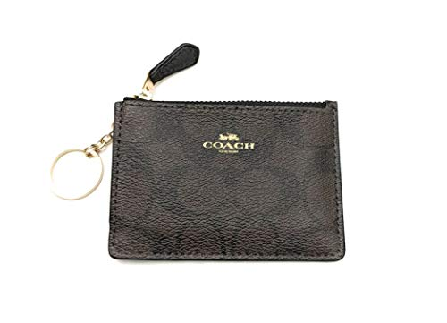 COACH F16107 MINI SKINNY ID BADGE KEY RING CASE BROWN/ BLACK (Coach Key Leather)