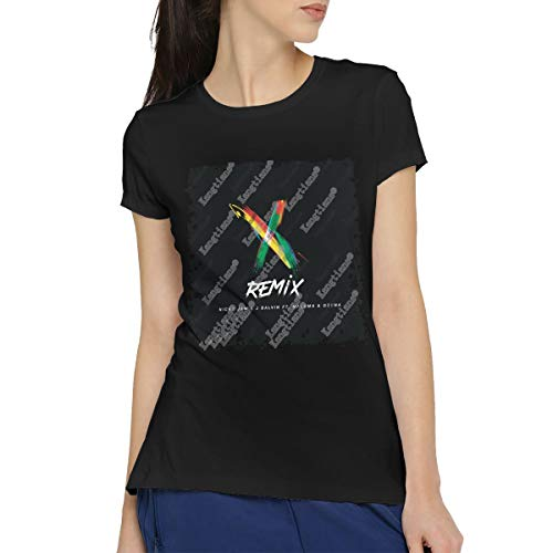 RHZTPYRDE Women's Nicky Jam J Balvin Ozuna X Remix Casual Short Sleeve Art T-Shirt Cotton Blouse Tees M Black