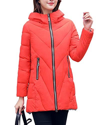 Nero Parka Red Trapuntato Bianco Giacca Con Piumino rosso Besbomig Cotone Ultraleggeri Outwear Donna Calda Zip Cappuccio Invernale PSUWW4Za