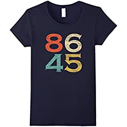 Womens Classic Vintage Style 86 45 Anti Trump T-Shirt Large Navy
