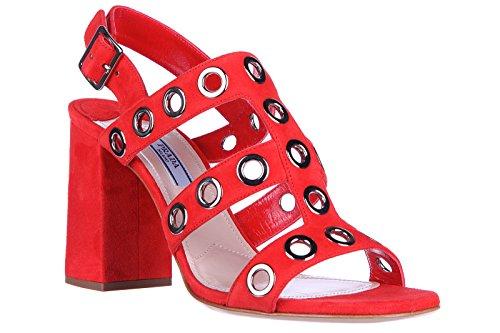 Prada sandales femme à talon en daim rouge