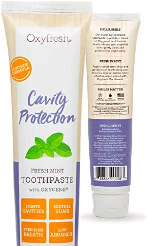 Oxyfresh Cavity Protection Fresh Mint Fluoride Toothpaste – Low Abrasion, Anti Cavity Formula for Sensitive Teeth and Gums. All Day Fresh Breath. 5 oz.