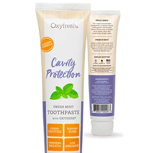 Oxyfresh Fluoride Mint Toothpaste - Low Abrasion, Cavity Fighting Formula - Dye-Free and Infused with Natural Essential Oil - Dentist Recommended, 5oz