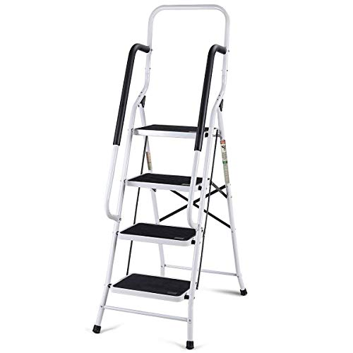 (Giantex 2 in 1 Non-Slip Step Ladder Folding Stool w/Anti-Slip Handrails Grip and Additional Metal Bars 4 Step Ladder for Home and Office Use 62.5''H)