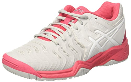 Asics Gel-Resolution 7 Gs, Zapatillas de Deporte Unisex Niños Gris (Glacier Grey/white/rouge Red)