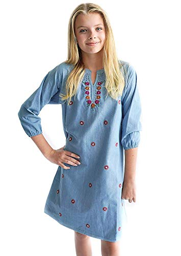 Smukke, Big Girls Beautiful Sequins & Embroidery Embellished Long Sleeves Dress (with Options), 7-16 (Denim, ()
