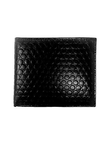 Embossed Dot Design Genuine Leather Wallet Bifold - RFID Blocking (Black)