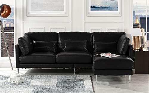 Modern Leather Sectional Sofa, L Shape Couch (Black) (Buffalo Leather Sofa)