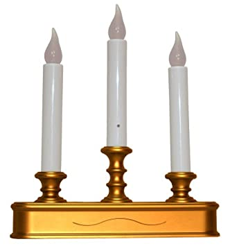 good tidings led 3tier window christmas candle holder with sensor antique finish